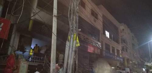 Fire in 2 garment showrooms at Durga Nursery road