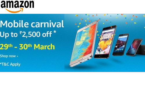 Amazon Mobile Carnival- Upto Rs 2500 off on Mobiles