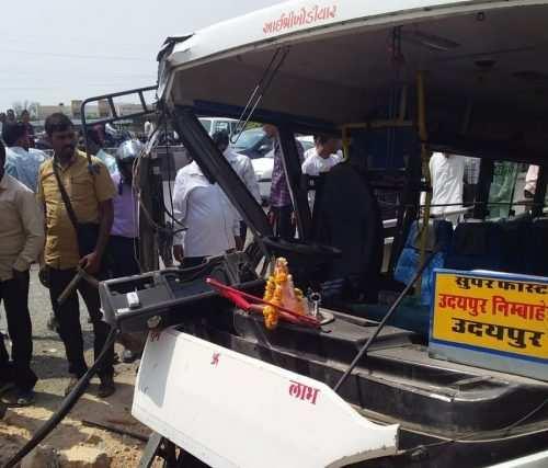 Udaipur-Nimbahera bus goes off-road | Passengers injured