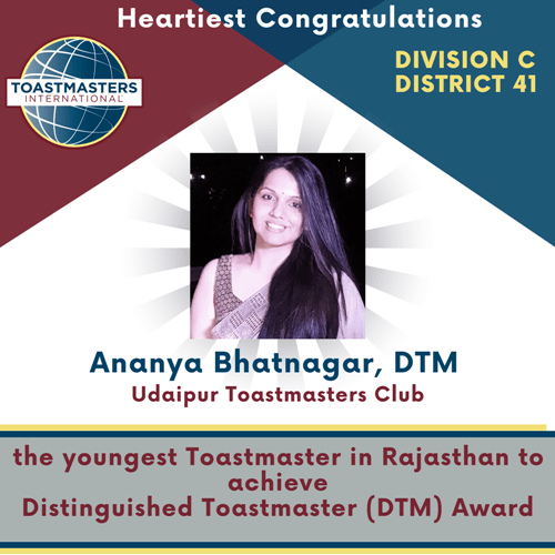 Ananya Bhatnagar from Udaipur becomes Youngest Toastmaster in Rajasthan to recieve Distinguished Toastmaster Award
