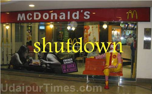 McDonald's at Udaipur temporarily shut down