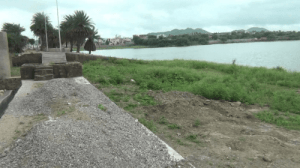 Sand bags to stop water flow from Nela talab