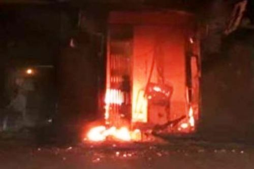ATM on fire on Banswara-Udaipur highway Cash burnt