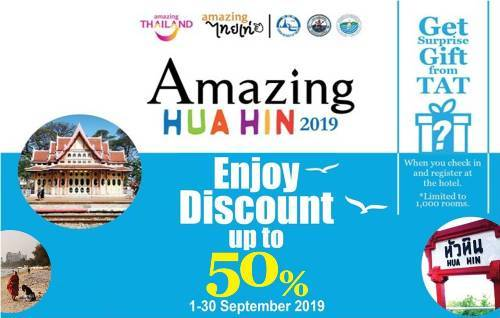 Thailand Tourism's Amazing Hua Hin 2019 promotion offers up to 50% OFF on room rates
