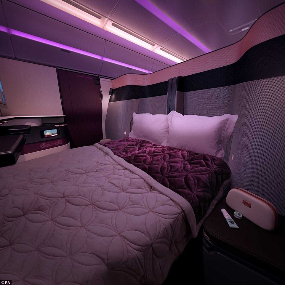 Double bed in business class by Qatar Airways