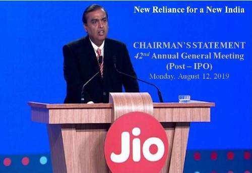 Reliance Chairman Mukesh Ambani's statement at the Annual General Meeting | 12 Aug 2019