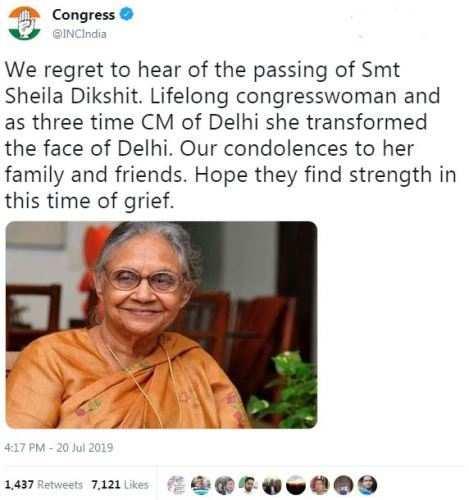 Sheila Dikshit passes away at 81 – Iconic Congresswoman