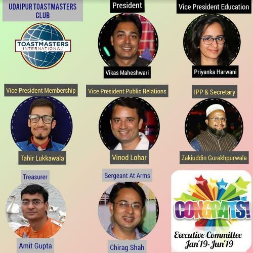 Vikas appointed President of Udaipur Toastmasters | Executives for H1-2019 elected