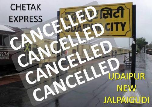 Rail Update | Trains cancelled To and From Udaipur between 17-24 August