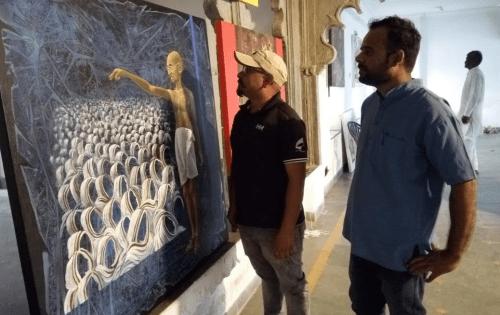 Painting exhibition on Mahatma Gandhi at Bagore ki Haveli