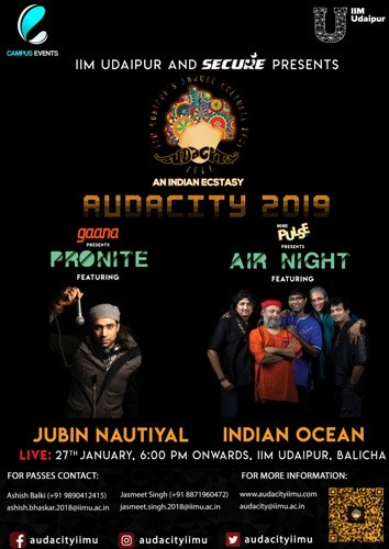 Stage set for Audacity 2019 – IIM Udaipur Cultural Fest | 26-27 January