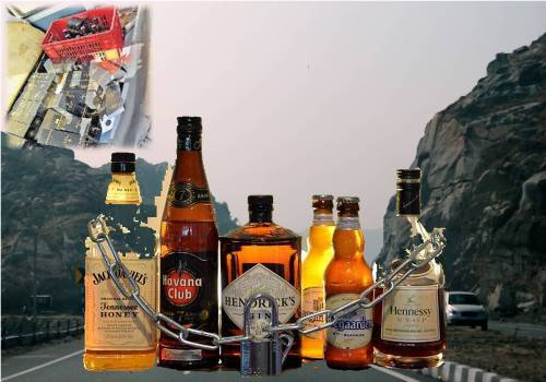 371 bottles of illegal liquor seized from a jeep
